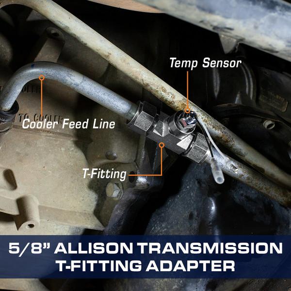 GM Duramax Allison 1000 Transmission Line T-Fitting Adapter Installed