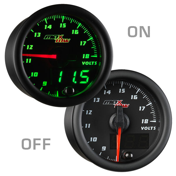 Black & Green MaxTow Voltage Gauge On/Off View