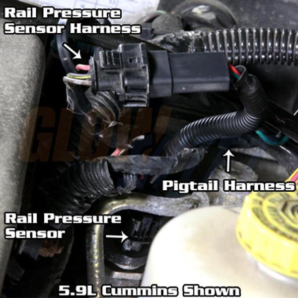Fuel Rail Pressure Gauge Wiring Harness Installed