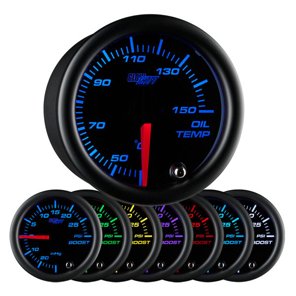 Black 7 Color Celsius Oil Temperature Gauge
