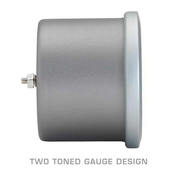 Two Toned Gun Metal Gauge Body with Brushed Aluminum Trim Ring