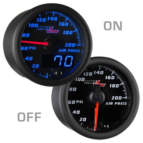 Black & Blue MaxTow Air Suspension Gauge On/Off View