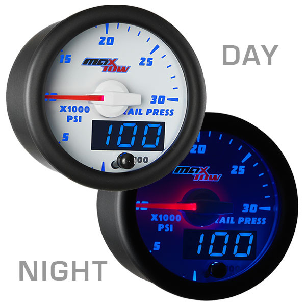 White & Blue MaxTow 30,000 PSI Fuel Rail Pressure Gauge Day/Night View