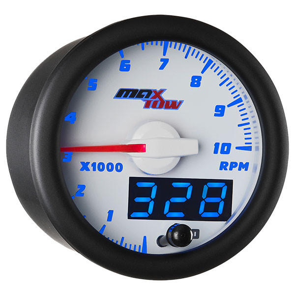 White & Blue MaxTow Tachometer Gauge