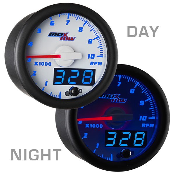 White & Blue MaxTow 10,000 RPM Tachometer Gauge Day/Night View