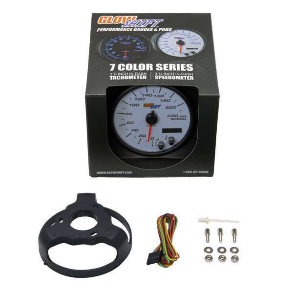 "GlowShift White 7 Color 3 3/4"" In-Dash KM Speedometer Gauge Unboxed"