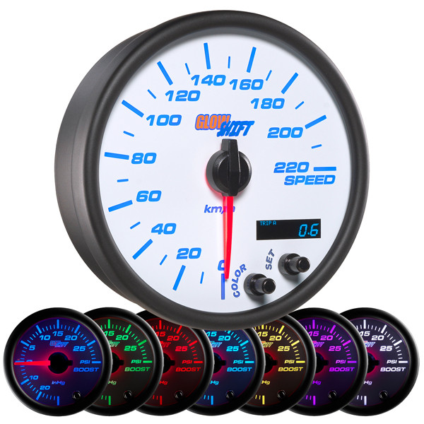 "White 7 Color 3 3/4"" In-Dash Kilometer Speedometer Gauge"