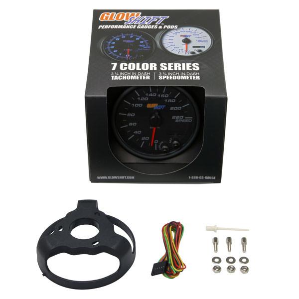 "GlowShift Black 7 Color 3 3/4"" In Dash KM Speedometer Gauge Unboxed"