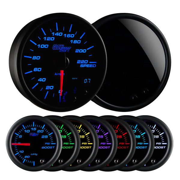 "Tinted 7 Color 3 3/4"" In-Dash Kilometer Speedometer Gauge"