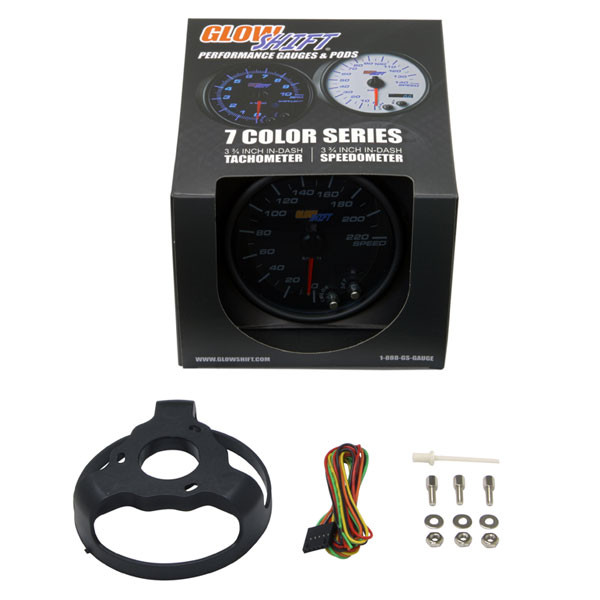 "GlowShift Tinted 7 Color 3 3/4"" In Dash KM Speedometer Gauge Unboxed"