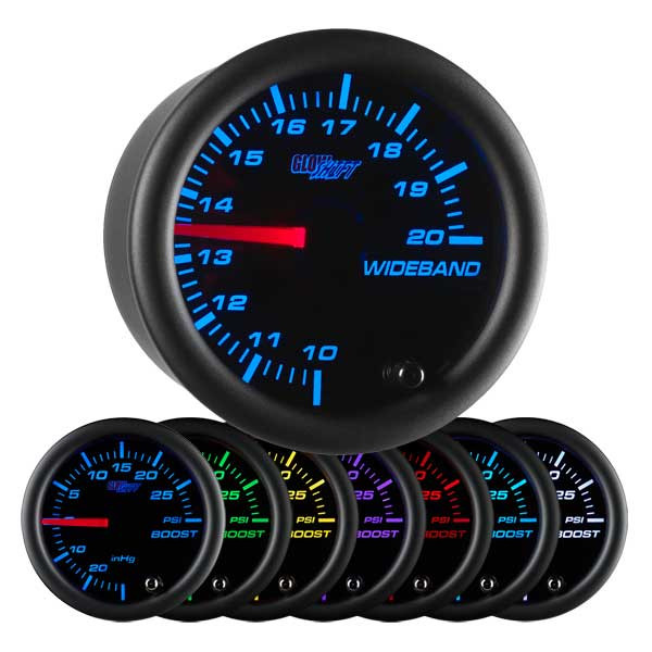Black 7 Color Analog Wideband Air/Fuel Ratio Gauge