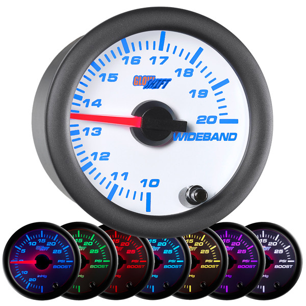 GlowShift White 7 Color Analog Wideband Air/Fuel Ratio Gauge