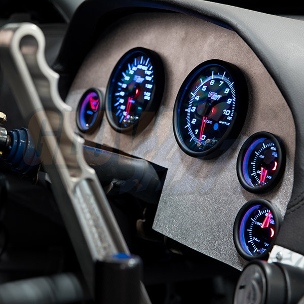 Tinted 7 Color Cluster Dashboard Set Installed to Custom Panel - Blue