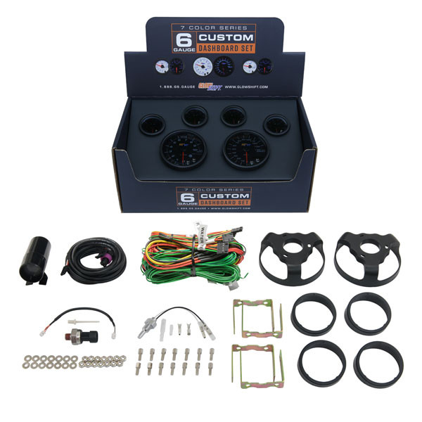 Included Gauges & Accessories with GlowShift Tinted 7  Color Dashboard Set