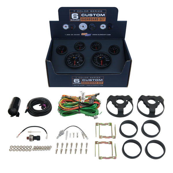 Included Gauges & Accessories with GlowShift Black 7  Color Dashboard Set