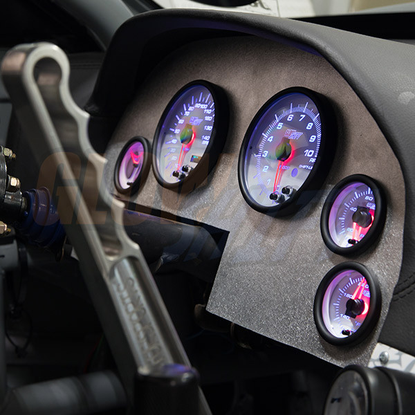 White 7 Color Cluster Dashboard Set Installed to Custom Panel - Blue