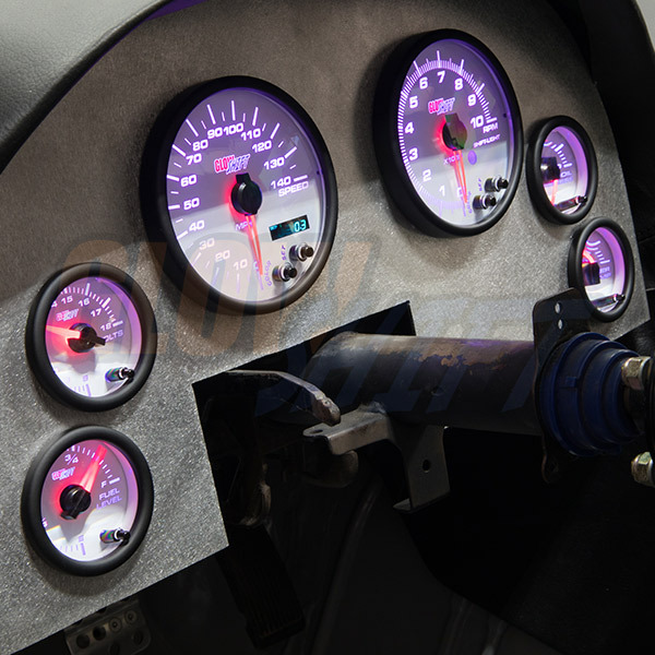 White 7 Color Cluster Dashboard Set Installed to Custom Panel - Purple