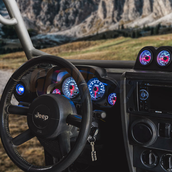 White 7 Color Cluster Dashboard Set Installed to Custom Panel