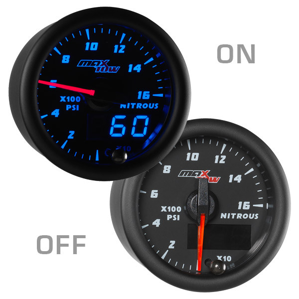 Black & Blue MaxTow Nitrous Pressure Gauge On/Off View