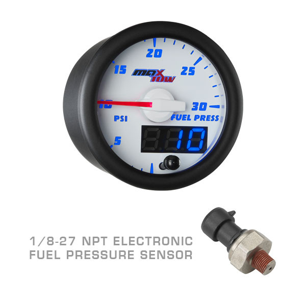White & Blue MaxTow 100 PSI Fuel Pressure Gauge with 1/8-27 NPT Electronic Pressure Sensor