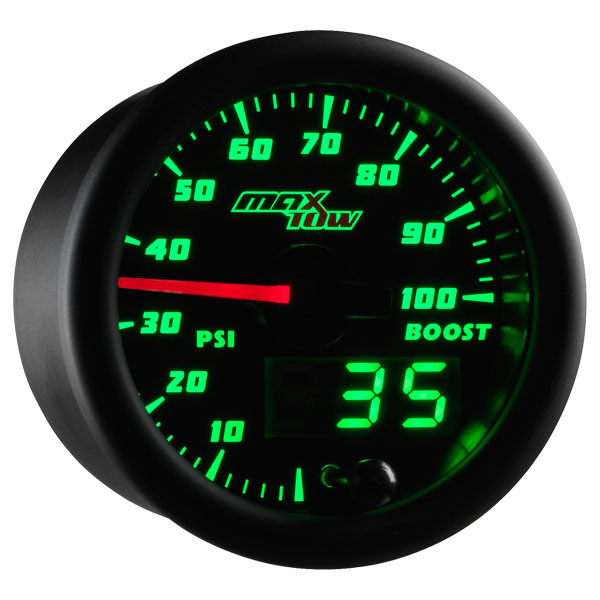Black & Green MaxTow 100 PSI Boost Gauge