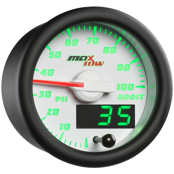 White & Green MaxTow 100 PSI Boost Gauge