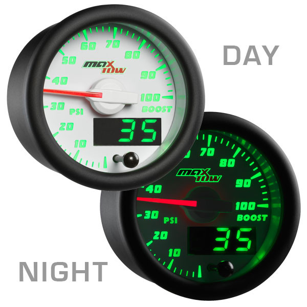 White & Green MaxTow 100 PSI Diesel Boost Gauge Day/Night View