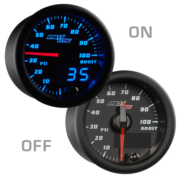 Black & Blue MaxTow 100 PSI Boost Gauge On/Off View