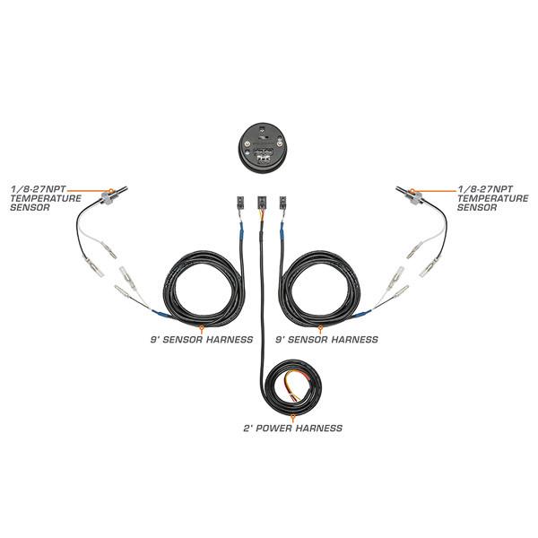 10 Color Digital Dual Temperature Gauge Wiring & Sensor Schematic