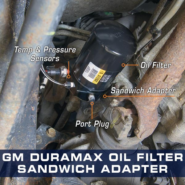 GM Duramax Oil Filter Sandwich Adapter Installation Photo