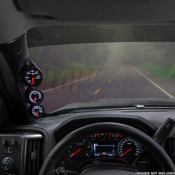 2014-2019 Chevrolet Silverado Duramax Triple Pillar Pod Installed Straight View