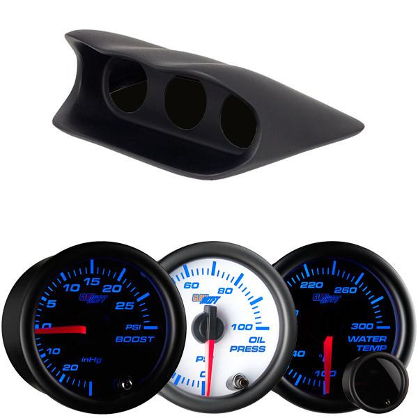 7 Color Series Triple Dashboard Gauge Package for 2002-2007 Subaru Impreza WRX