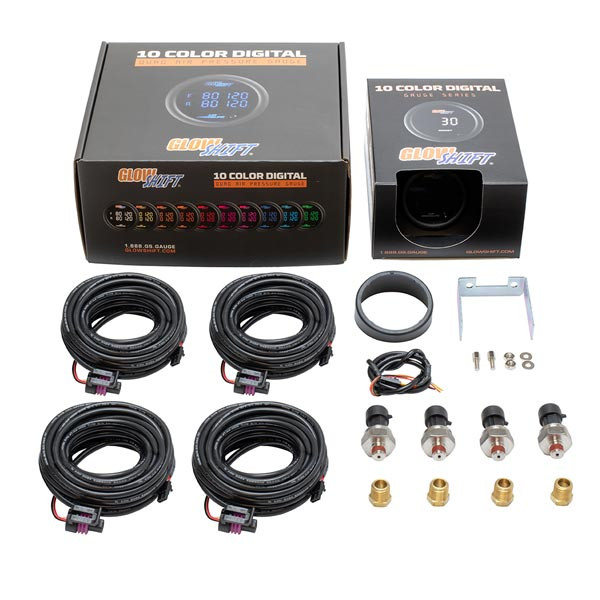 GlowShift 10 Color Digital Dual 200 PSI Air Pressure Gauge Unboxed