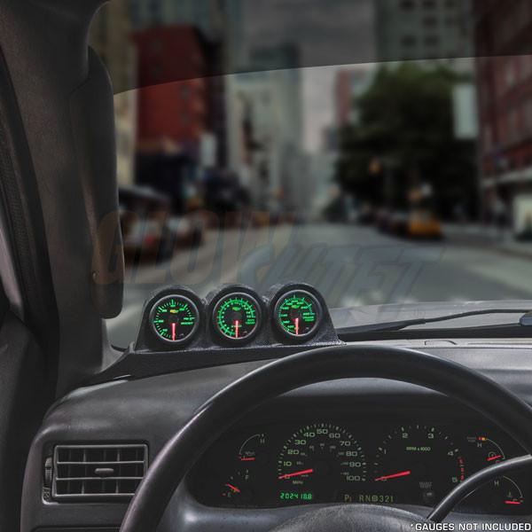Black Triple Gauge Dashboard Pod Installed to 1999-2007 Ford Super Duty Power Stroke