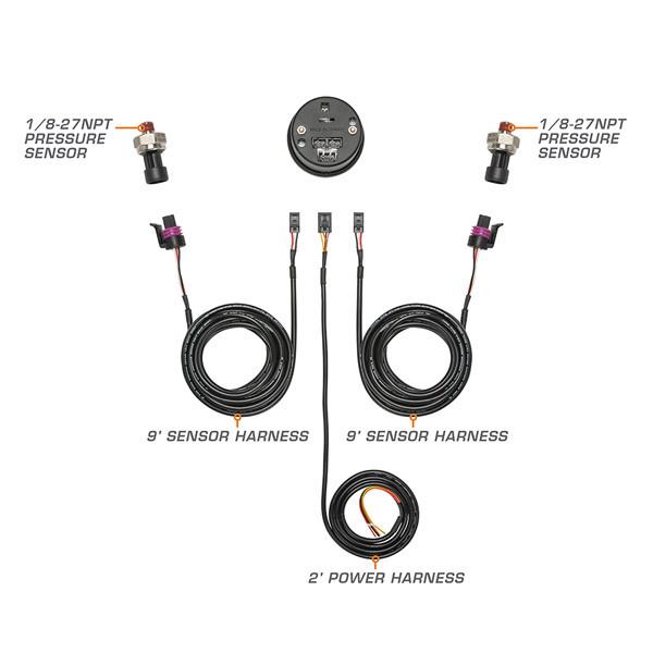 10 Color Digital Dual Pressure Gauge Wiring & Sensor Schematic