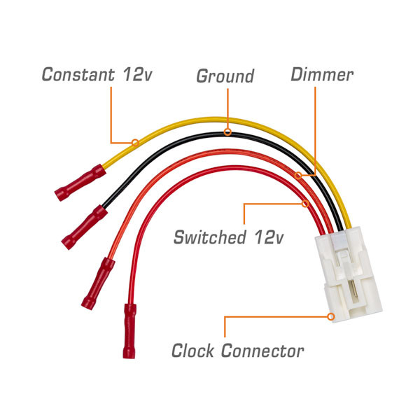 Add-On Clock Power Harness Callouts - Switched 12v, Constant 12v, Ground, Dimmer & Clock Connector