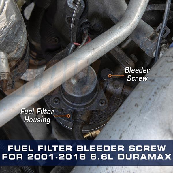Fuel Filter Bleeder Screw for GM 6.6L Duramax Installed to Truck