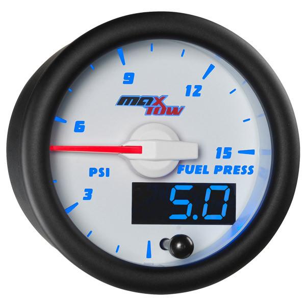 White & Blue MaxTow 15 PSI Fuel Pressure Gauge