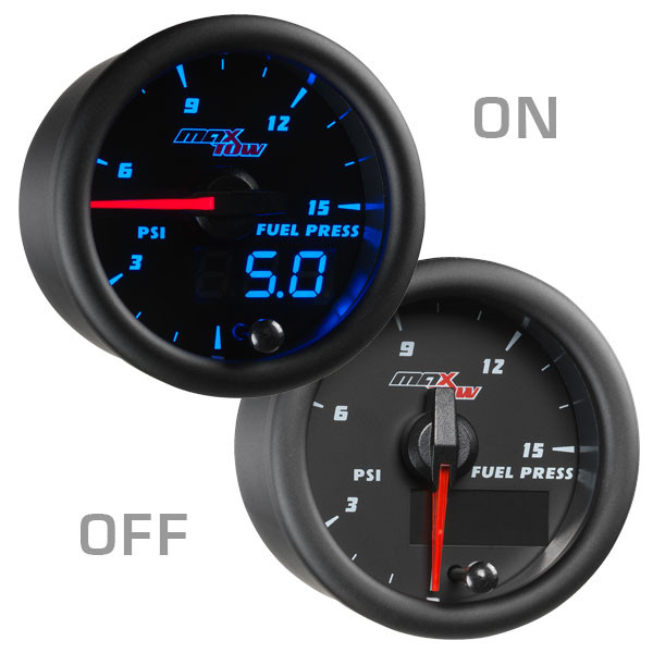 Black & Blue MaxTow 15 PSI Fuel Pressure Gauge On/Off View