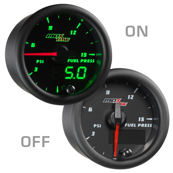 Black & Green MaxTow 15 PSI Fuel Pressure Gauge On/Off View