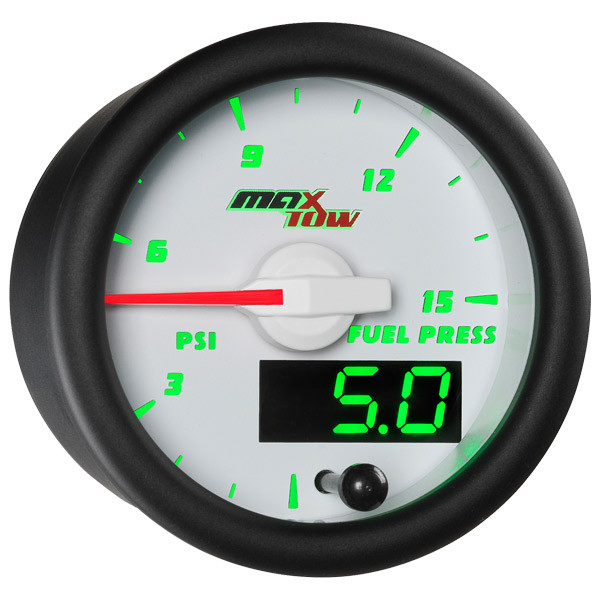 White & Green MaxTow 15 PSI Fuel Pressure Gauge