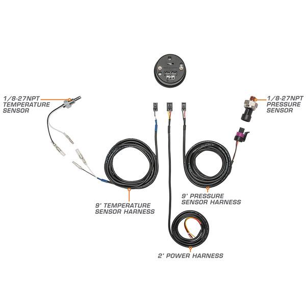 10 Color Digital Dual Temperature & Pressure Gauge Wiring & Sensor Schematic