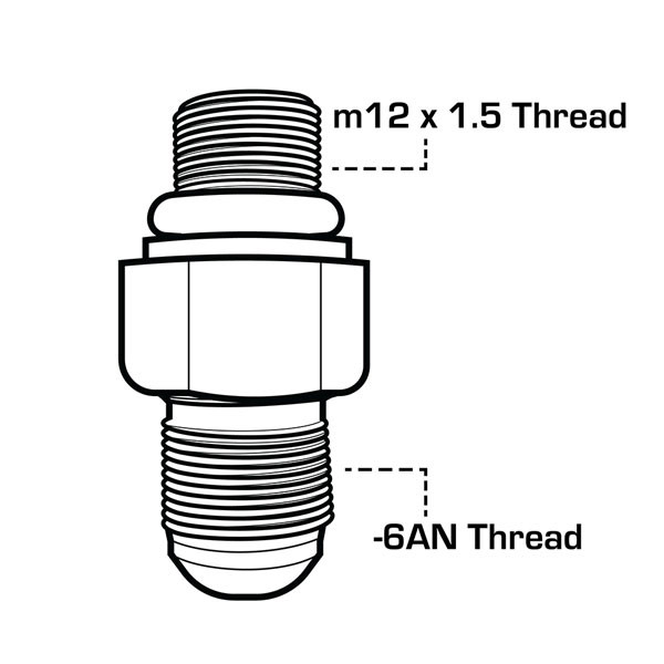 -6 AN x 12mm Fuel Line Adapter Drawing