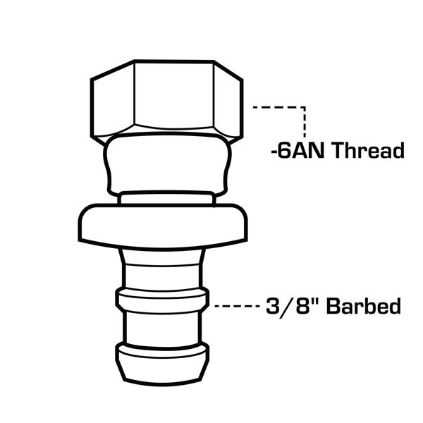 "-6 AN x 3/8"" Barbed Push-On Hose Fitting Drawing"