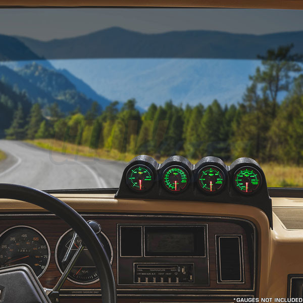 Black Quad Gauge Dashboard Pod for 1986-1993 Dodge Ram Cummins Installed
