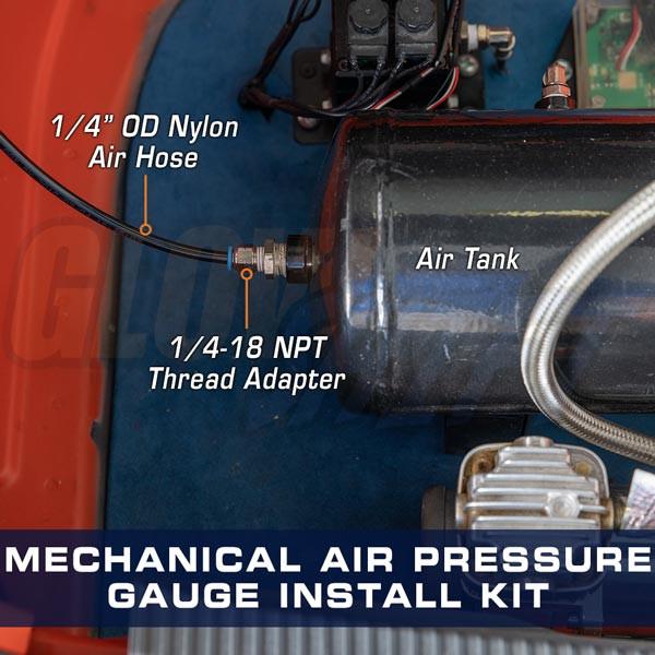 Mechanical Air Pressure Gauge Installation Hose Kit Installed to Air Tank
