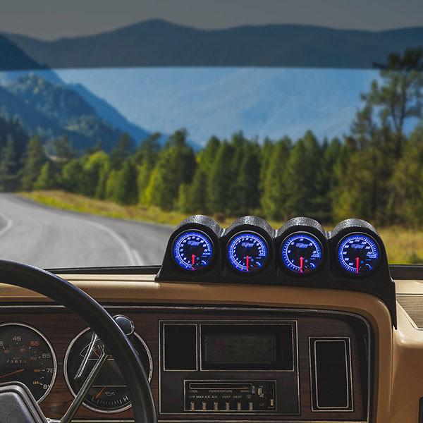 Elite 10 Color Series Quad Dashboard Gauge Package for 1986-1993 Dodge Ram Cummins Installed