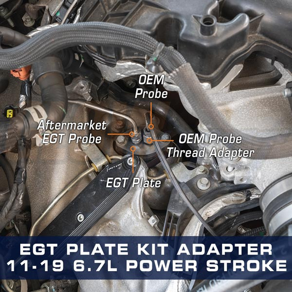 Pyrometer EGT Plate Installed to 6.7L Power Stroke