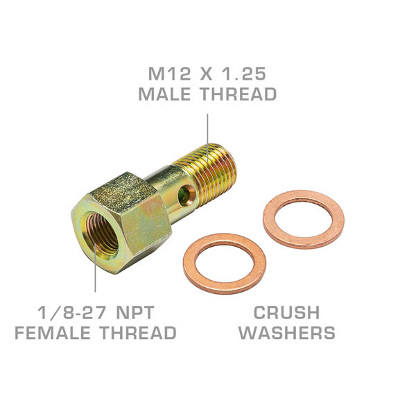 M12 x 1.25 Fuel Pressure Banjo Bolt Thread Adapter Callouts