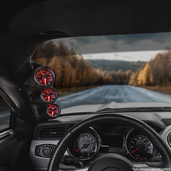 Black Triple Pillar Gauge Pod for 2015-2020 Ford Mustang Installed